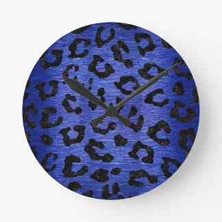 SKIN5 BLACK MARBLE & BLUE BRUSHED METAL ROUND CLOCK