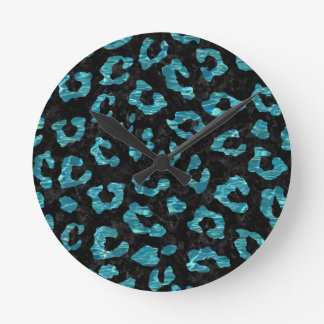 SKIN5 BLACK MARBLE & BLUE-GREEN WATER (R) ROUND CLOCK