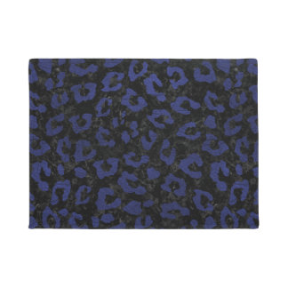 SKIN5 BLACK MARBLE & BLUE LEATHER (R) DOORMAT