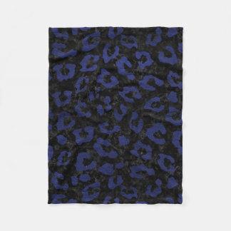 SKIN5 BLACK MARBLE & BLUE LEATHER (R) FLEECE BLANKET