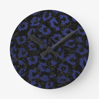 SKIN5 BLACK MARBLE & BLUE LEATHER (R) ROUND CLOCK