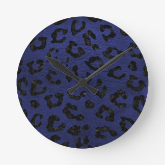 SKIN5 BLACK MARBLE & BLUE LEATHER ROUND CLOCK