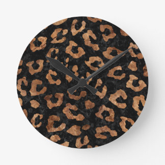 SKIN5 BLACK MARBLE & BROWN STONE (R) ROUND CLOCK