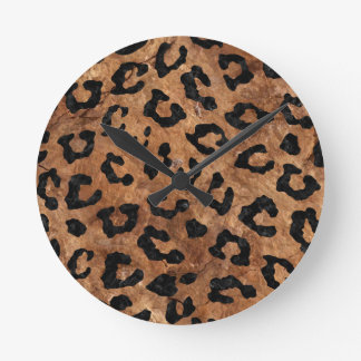 SKIN5 BLACK MARBLE & BROWN STONE ROUND CLOCK