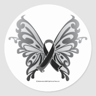 Skin Cancer Butterfly Ribbon Classic Round Sticker