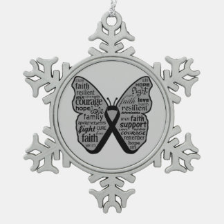Skin Cancer Butterfly Words of Hope Ornament