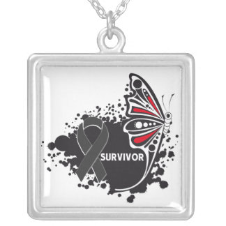 Skin Cancer Survivor Tattoo Butterfly Square Pendant Necklace