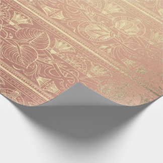 Skin Pink Rose Gold Glass Egyptian Floral Script Wrapping Paper
