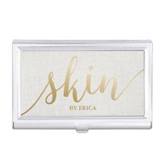 Skincare Salon Spa Esthetician Elegant Gold Script Business Card Cases
