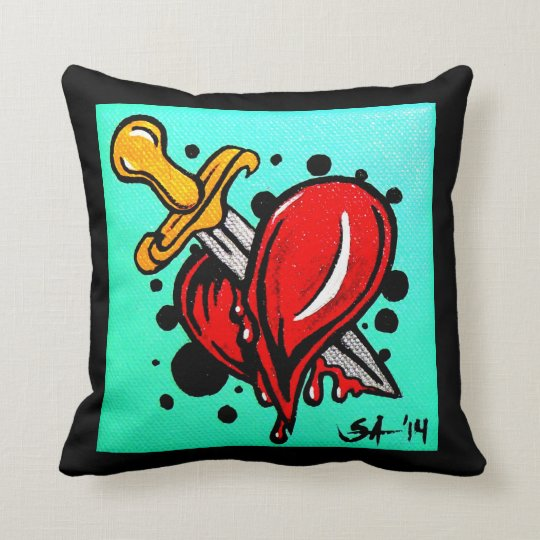 "Skinderella's ""Heartache"" throw pillow"