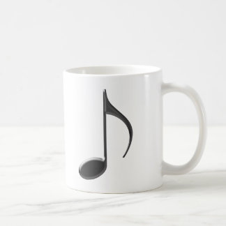 Skinny Black 8th Music Note on white Background Coffee Mug