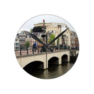 Skinny Bridge, Amsterdam, Holland Round Clock