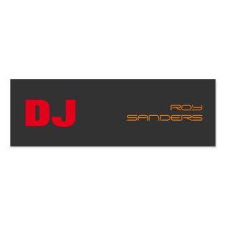 Skinny DJ Stylish Grey Background Red Orange Mini Business Card
