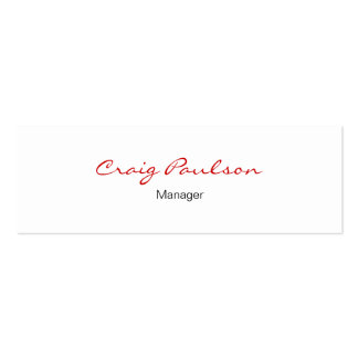 Skinny Elegant Script White Red Business Card