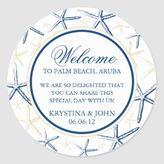 Skinny Finger Starfish Wedding Welcome Classic Round Sticker