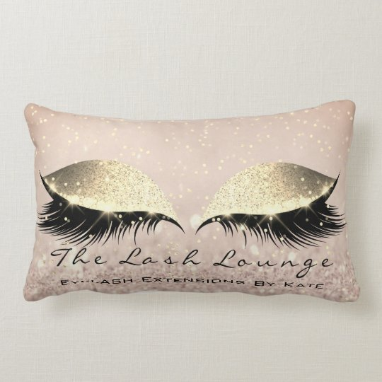 Skinny Gold Glitter Makeup Artist Eye Lash Beauty Lumbar Pillow