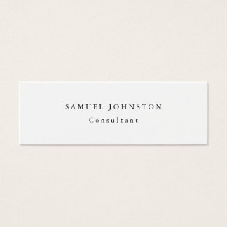 Skinny Minimalist Plain Simple White Professional Mini Business Card