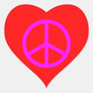 Skinny Pink Peace Symbol Heart Sticker
