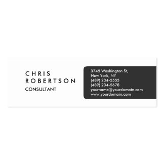 Skinny Plain Gray White Attractive Business Card