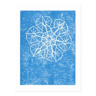 Skinny Snowflake - Block Print - Postcard