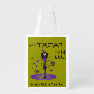 Skinny Whimsical Halloween Witch Illustration Reusable Grocery Bags