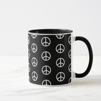 Skinny White Peace Sign Pattern on Black Mug