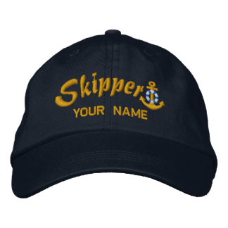 Skipper Anchor Your Boat Name Your Name Embroidered Hats