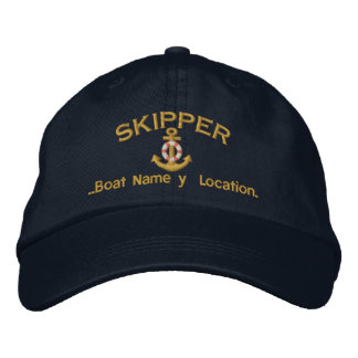 Skipper Anchor Your Boat Name Your Name or Both Embroidered Hats