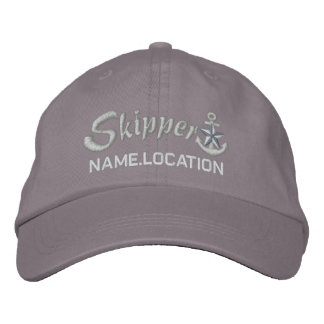Skipper Customizable Your Name Silver Star Anchor Embroidered Hat