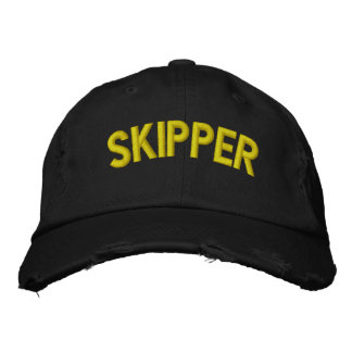 Skipper text for sailing or sports teams embroidered hat