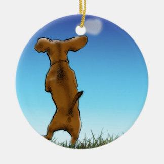 skipping_doxie_color ceramic ornament