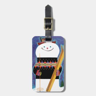 Skis for Snowman Luggage Tag