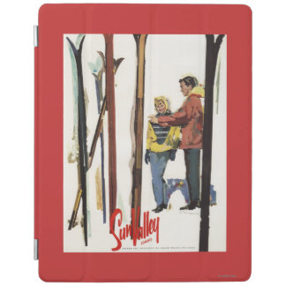 Skis Standing Up in Snow by Couple Poster iPad Cover