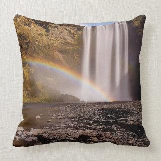 Skógafoss Grade A Cotton Throw Pillow 20x20