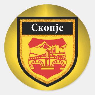Skopje Flag Classic Round Sticker