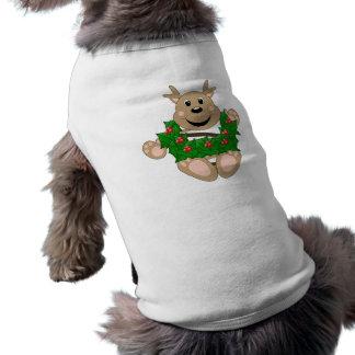 Skrunchkin Reindeer With Wreath Doggie T-shirt