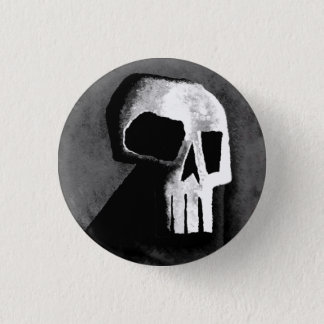 Skull 15-Grey 1 Inch Round Button