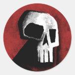 Skull 15-Red Classic Round Sticker