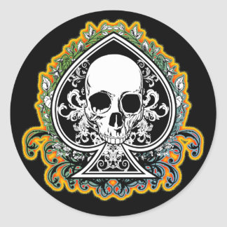 SKULL ACE OF SPADES CLASSIC ROUND STICKER