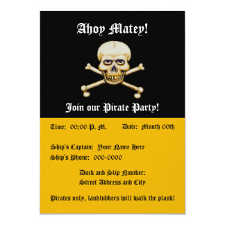 Skull amd Bones Pirate Party Card