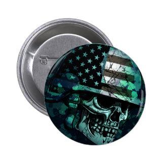 Skull America Soldier Dead Zombie 2 Inch Round Button