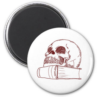 Skull and a book 2 inch round magnet