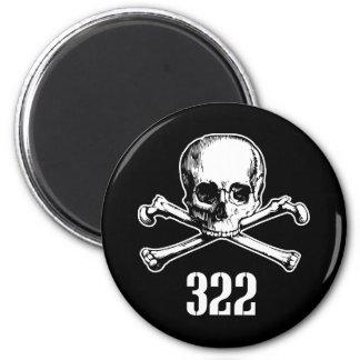 Skull and Bones 322 2 Inch Round Magnet