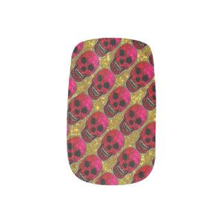 Skull and Bones Bling Pink/gold Minx Nail Art