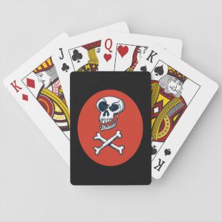 skull and bones cartoon style illustration playing cards
