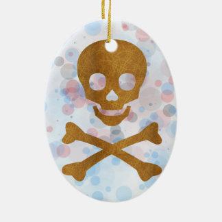 Skull and Bones Ceramic Oval Ornament