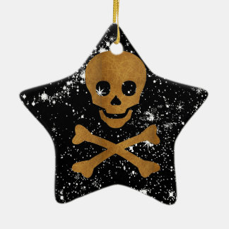 Skull and Bones Ceramic Star Ornament