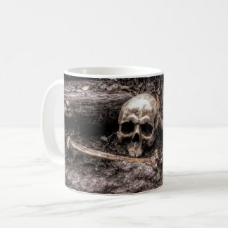 Skull and bones haunted forest coffee mug