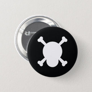 Skull and Bones in black and white 2 Inch Round Button