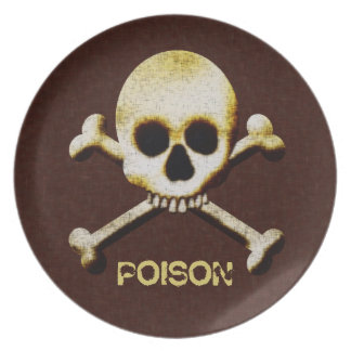 Skull And Bones Poison Halloween Haunted House Party Plate